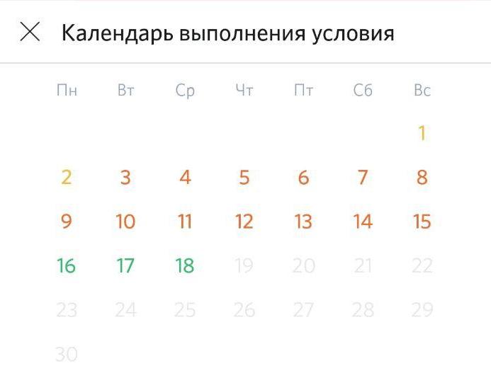Календарь выполнения условий Opencard