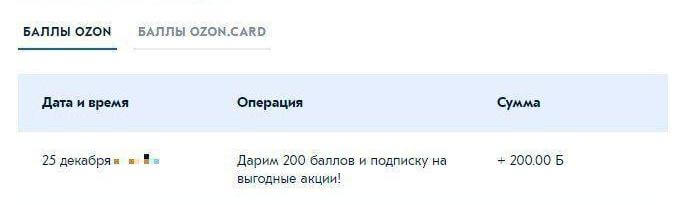 Озон подписка 200 баллов